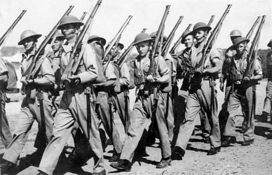 Australian Infantry soldiers marching near Caloundra in 1940.